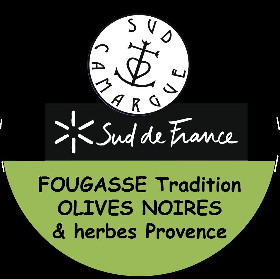 étiquette de la fougasse tradition aux olives noires et herbes de Provence
