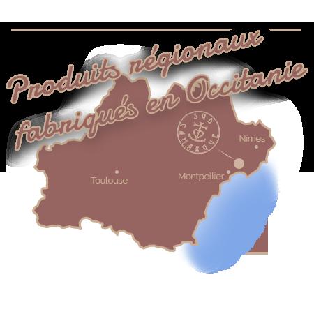"""carte de l'Occitanie, slogan """"produits régionaux fabriqués en Occitanie"""","""