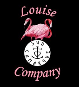 logo Louise Company, flamants roses et logo sud camargue